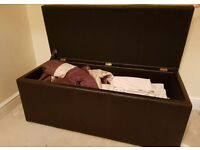 Brown Leather Blanket Box