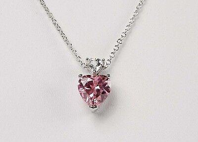 "New Avon PINK HEART Fancy Shape CZ And Trillion Pendant Necklace 17"",18"",19"",20"""