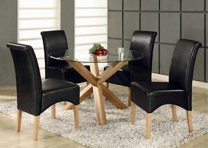 Oak Dining Table Solid Oak Legs Round Glass Top 95