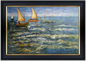 Framed-Van-Gogh-Sea-at-Saintes-Maries-Repro-Hand-Painted-Oil-Painting-24x36in