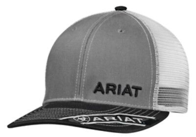 Ariat Mens Hat Baseball Cap Mesh Snapback Adjustable Gray Black 1501106