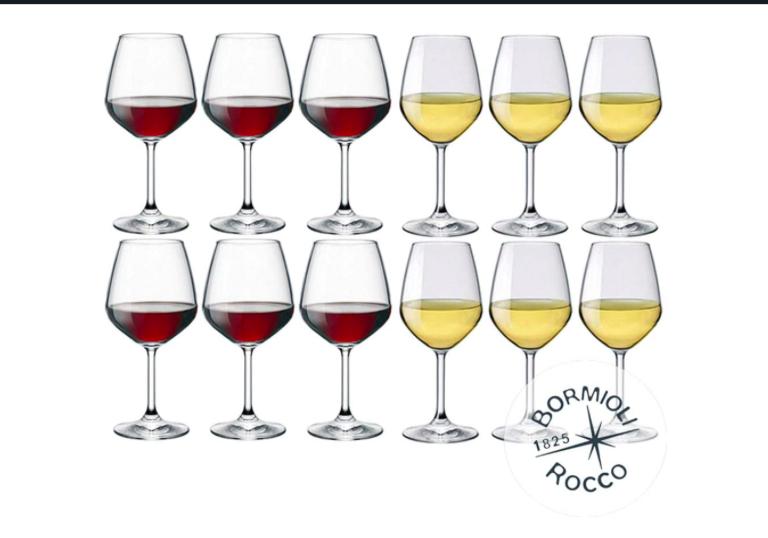 DIVINO Bormioli Rocco Set 12 Calici Vino - 6 calici Rosso 53 cl + 6 bianco 44 cl