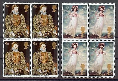 Great Britain 1968 Sc# 568-69 Queen Elizabeth Pinkie GB blocks 4 MNH