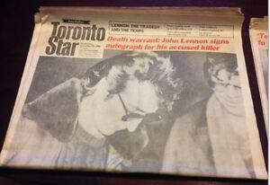 John Lennon Assassination Newspapers $25, OBO