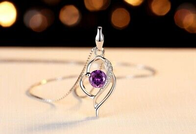 Sterling silver Amethyst Cubic Zirconia Heart Pendant Necklace 18