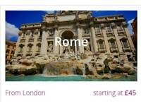 London to Rome return flight ticket now just £43