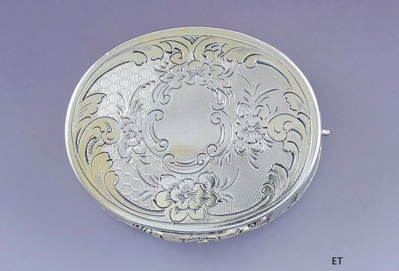 1858 Great Antique English Victorian Sterling Silver Oval Vinaigrette Scent Box