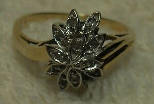 "Vintage - 10kt yellow gold ""Diamond Cluster"" Engagement Ring"