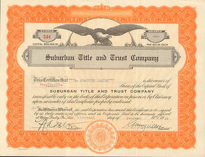 Upper Darby Pennsylvania Title Trust stock certificate