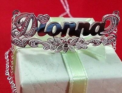 Name Double Plate Silver Personalized Choose Any Name Necklace(Butterfly tail) -
