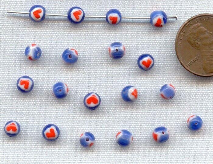 24 VINTAGE HANDMADE GLASS BLUE WHITE RED HEART CHEVRON ROUND TRADE BEAD 2036 - $0.99