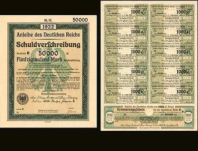 1922 Berlin German Bonds 10x 50,000 Mark + coupons