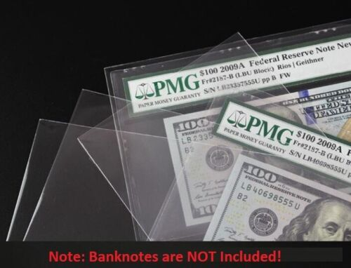 100 Paper Money Sleeve Self adhesive For Certified PMG Graded Banknote Holder