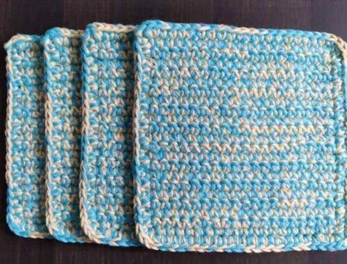 Crotchet Handmade Set of 4 Potholders 100% cotton Colors Turquoise/Banana