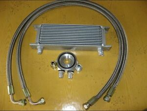 Universal-Aluminum-13-Row-Oil-Cooler-Kit-Stainless-Steel-hoses-Adaptor