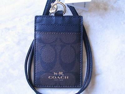 ~COACH Lanyard Signature ID Badge Holder Card Case Brown Black New With Tags!~