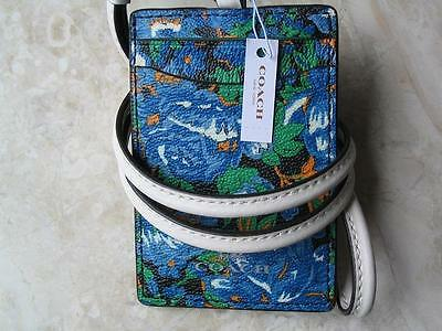 ~COACH Lanyard Signature Flower Meadow Multi Badge Holder Card Case NWT!~