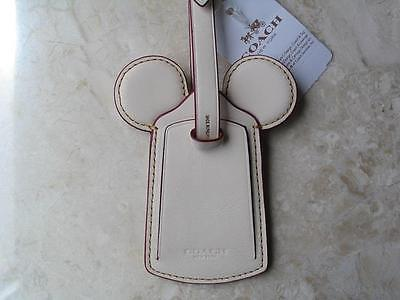 ~COACH Lanyard Luggage Tag Signature Mickey Mouse Leather Ear NWT!~