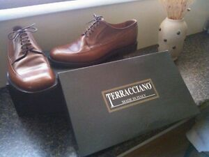 New Mens Brown Italian Leather Dress Shoes Size 8 1/2 (42)