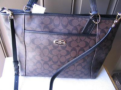 ~COACH Purse Signature Pocket Tote New w Tags..Brown Black.MSRP 395. Great Deal~