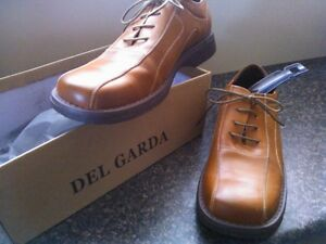 New Mens Italian Brown / Tan Leather Shoes Size 9 (43)