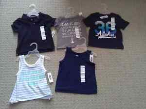 BNWT KID TODDLER GIRL'S T-SHIRTS TANK TOPS POLO 12-18 M LOT OF 5