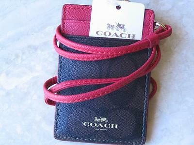 ~COACH Lanyard Signature True RED & BROWN Badge Holder Card Case NWT!~