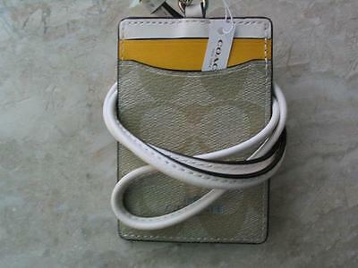 ~COACH Lanyard Signature Colorblock Yellow Chalk Two Tone Badge Holder NWT!~