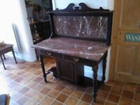 Marble-topped antique wash stand/sideboard