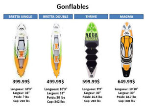 GONFLABLES Stand up Paddle board,SUP,Planche à Pagaie et kayaks