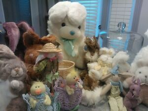 easter decorations and plush animals