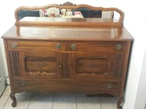 (1920's) Solid Wooden Sideboard Cabinet With Mirror