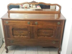 Old Fashioned (1920's) Solid Wooden Sideboard with Mirror