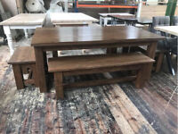 NEW - wax finish Chunky table and bench set