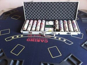 Portable poker table and chips
