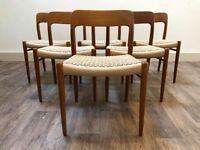 Restored 6 Danish teak chairs model 75 by JL Moller Retro Vintage Mid Century