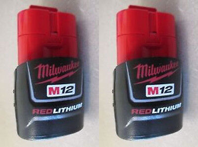 2 NEW Genuine Milwaukee M12 12-Volt RED LITHIUM Ion 2.0 Ah 48-11-2420 Battery