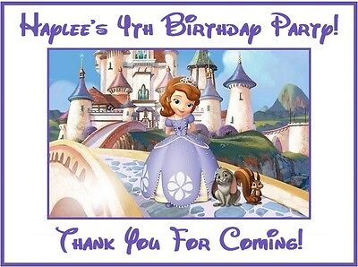 (4) Personalized Sofia The First Party Stickers,3 1/4