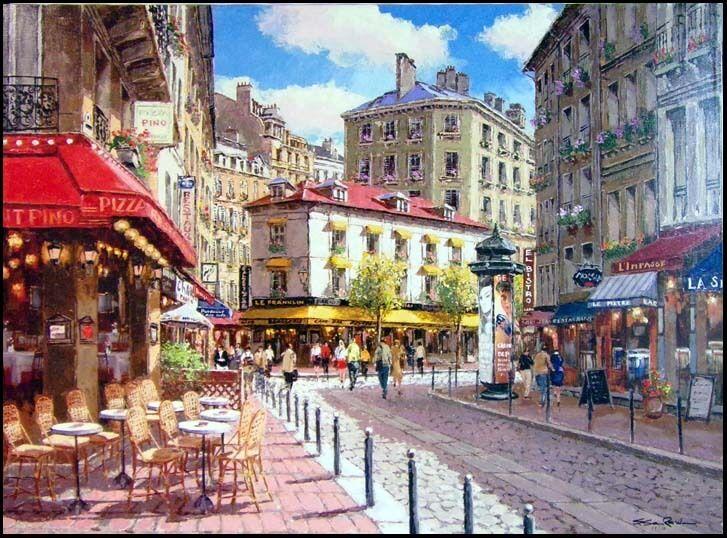 "S.SAM PARK ""Rue De Soleil"" giclee 2005Hand Signed stretched canvasMake an Offer!"