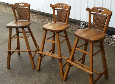 OLD HICKORY WOODEN BAR STOOLS FROM MARTINVILLE IN ()