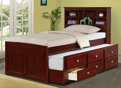 Twin or Full Captain's Bed with Trundle, Storage Drawers, & Bookcase Headboard! Twin Captains Bed Trundle