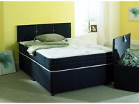 BRAND NEW DOUBLE DIVAN BED WITH ORTHOPAEDIC / SPRUNG MEMORY FOAM MATTRESS