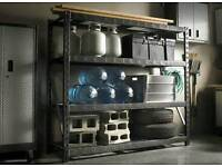 Industrial metal shelving racks