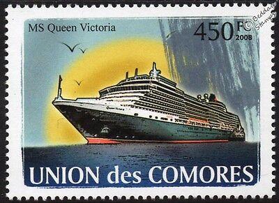 MS QUEEN VICTORIA (QV) Cunard Line Ocean Liner Cruise Ship Stamp (2008 Comoros)