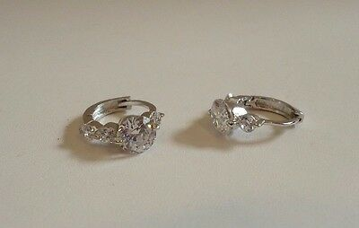 LADIES PAST/PRESENT/FUTURE HUGGIE EARRINGS 925 STERLING SILVER W/ 2 CT DIAMONDS