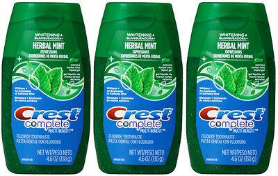 Crest Complete Whitening Liquid Gel Toothpaste 4.6 oz Each (3 Pack) NEW