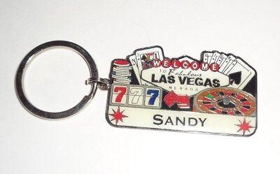 LAS VEGAS SOUVENIR PERSONALIZED KEYCHAIN SANDY ONE (1) + BONUS POSTCARD (Personalized Souvenirs)