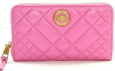 Versace Nappa Leather Quilted Icon Zip Around Wallet in Pink