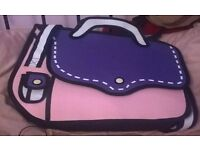 Pink and Purple 2D Cartoon Shoulder Bag
