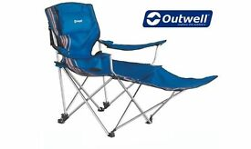 Camping Lounger / Chair Outwell Windsor Hills Reclining Camp Chair - Removable Leg Rest - Used Once